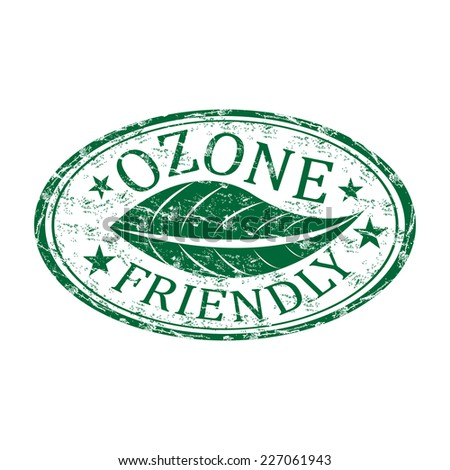 Green grunge rubber stamp with a leaf and the text ozone friendly written inside the stamp - stock vector