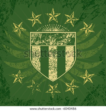 Green Grunge Shield - stock vector