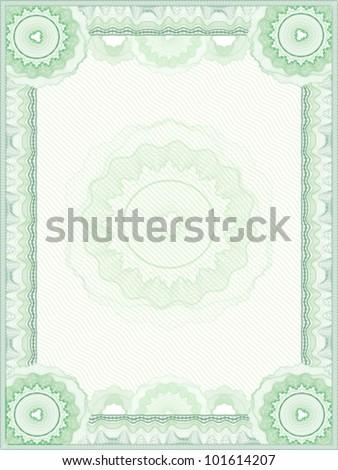 Green guilloche vector border for diploma or certificate - stock vector