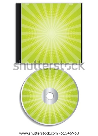 Green halftone cd  and cover design - stock vector