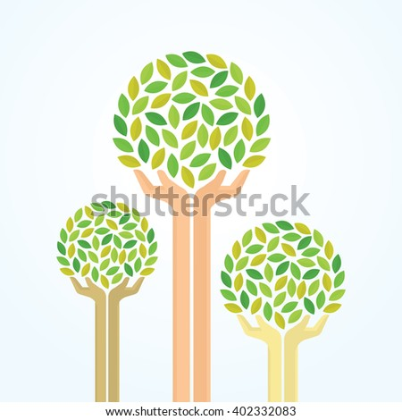 Green hand tree for saving the environment. Illustration EPS 10 - stock vector