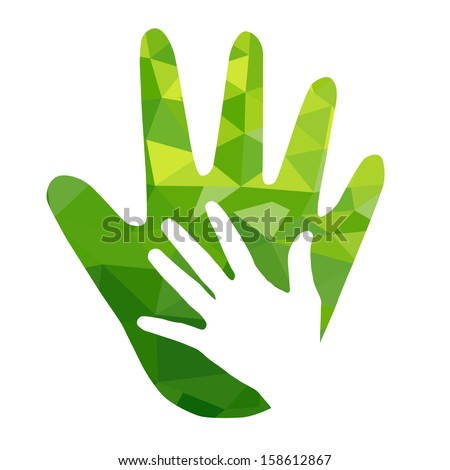 Green hand with green geometric  over white background - stock vector