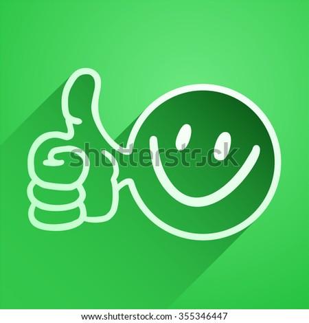 green happy icon - stock vector