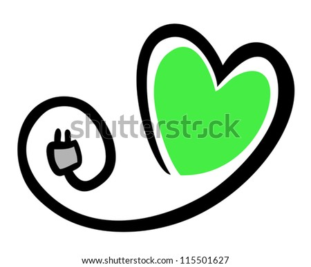 Green heart - stock vector