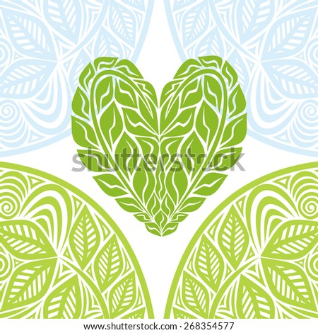 Green heart and nature pattern background vector illustration - stock vector