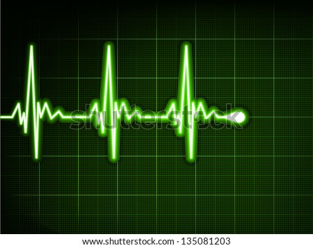 Green heart beat. Ekg graph. EPS 8 vector file included - stock vector