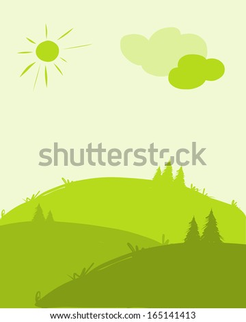 Green hills, landscape for your design - stock vector