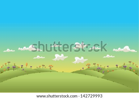 Green hills landscape with trees  - stock vector