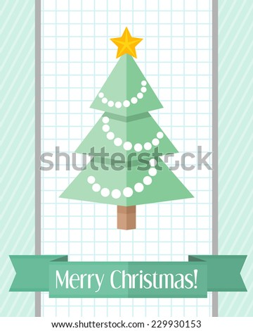 Green holiday Christmas card with decorated fir tree and green ribbon - stock vector