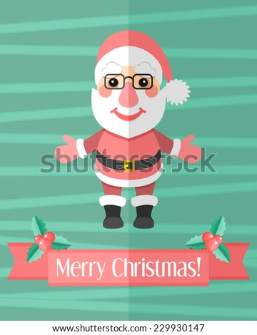 Green holiday Christmas card with Santa Claus and red ribbon with holly berry - stock vector