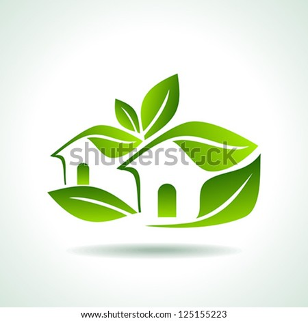 Green home icon on white background - stock vector