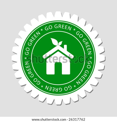 Green Home Sign Label - stock vector