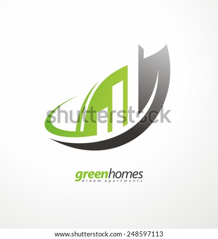 Green homes creative symbol layout. Dream apartments business logo design vector concept. Leaf shape with buildings in negative space. Real estate agency graphic design idea. - stock vector
