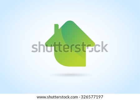Green house home vector logo. House logo. Nature house logo. Home house roof and mortgage, banking, loan house, royalty. Realty logo, mortgage. Real estate. Lawyer office. Development logo. Bank logo - stock vector