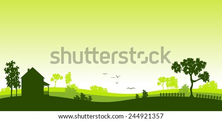 Green house in the woods - stock vector