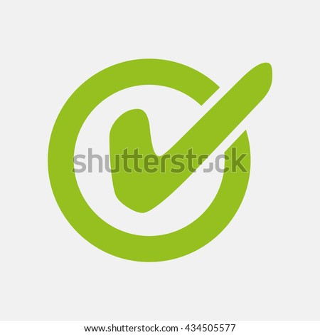 Green icon of Checked on Light Gray background. Eps-10. - stock vector