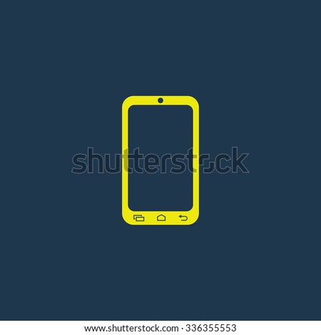 Green icon of mobile phone on dark blue background. Eps.10 - stock vector
