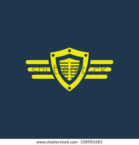 Green icon of Shield & Wings on dark blue background. Eps.10 - stock vector