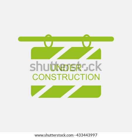 Green icon of Under Construction Board on Light Gray background. Eps-10. - stock vector