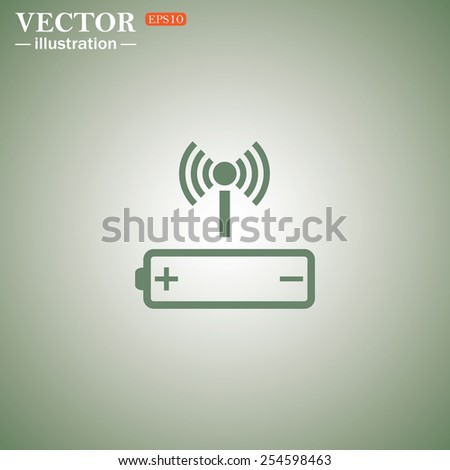 Green icon on a green background. power management through a wi-fi network, vector, EPS 10 - stock vector