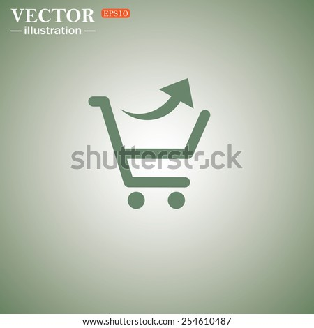 Green icon on a green background. remove from the shopping cart, vector illustration, EPS 10 - stock vector