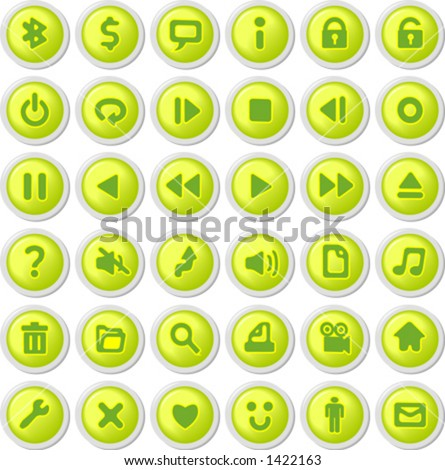 green icon set - stock vector