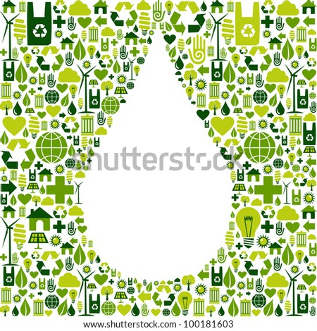 Green icon set in drop shape background. Vector file available. - stock vector