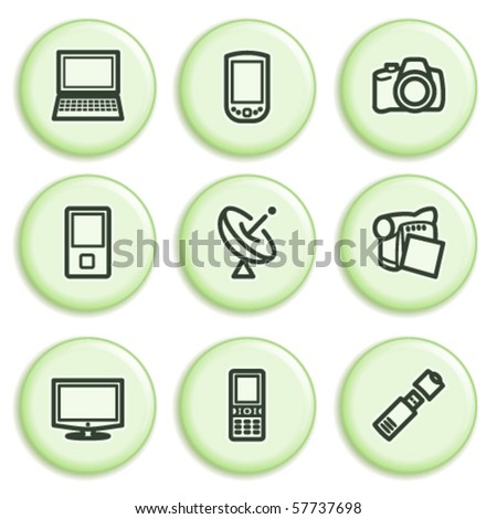 Green icon with button 16 - stock vector
