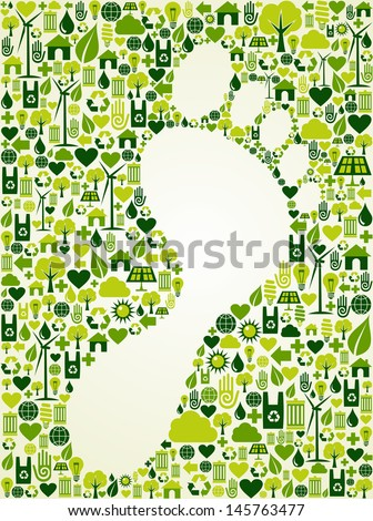 Green icons foot prints concept splash. Vector file layered for easy manipulation and custom coloring. - stock vector
