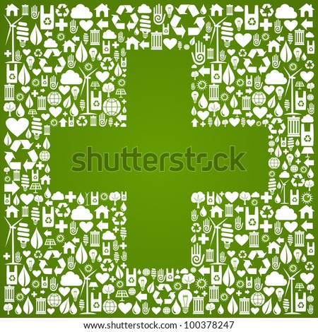 Green icons set with cross background. Vector file available. - stock vector