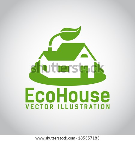 Green illustration of an eco house or eco home  surrounded by grass and with a leaf above the roof  environmentally low-impact and eco-friendly construction  on grey background - stock vector