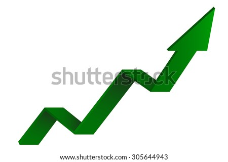 Green Indication arrows. Up arrows, statistic financial graphic. Vector illustration - stock vector