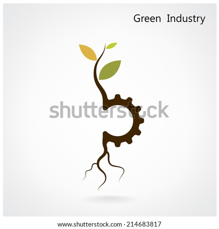 Green industry concept. Small plant and gear symbol, business and green idea, education concept. Vector illustration. - stock vector