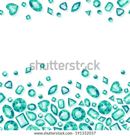 Green jewels seamless horizontal background. Scattered emeralds. - stock vector