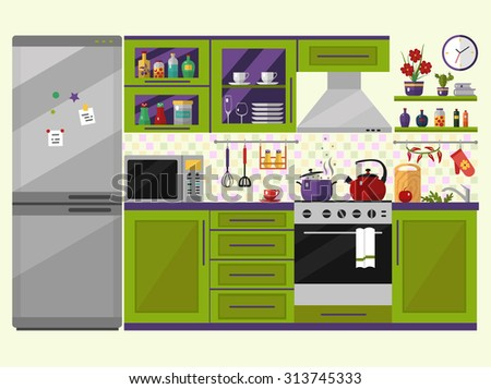 Green kitchen interior with furniture, utensils, food and devices. Including fridge, oven, microwave, kettle, pot. Flat style vector icons and illustration. - stock vector