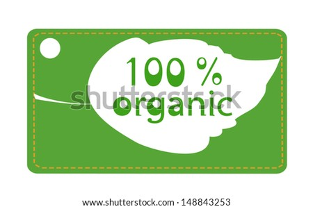 Green label with leaf marking 100% organic products - stock vector