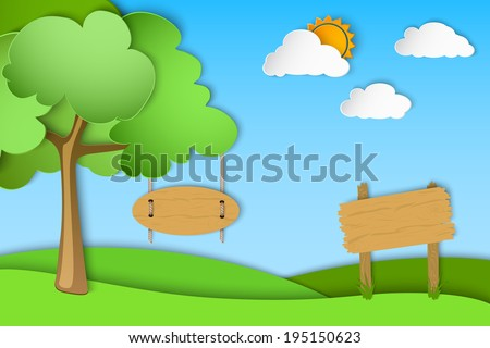 green landscape of paper - stock vector