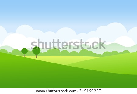 green landscape vector - stock vector