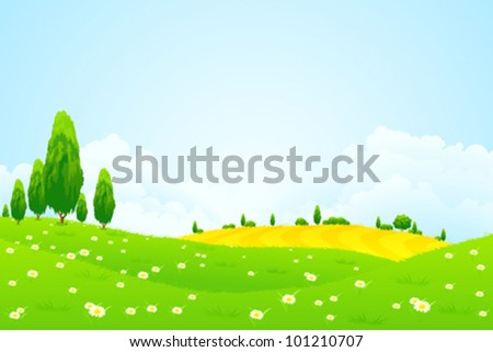 Green Landscape with  Flowers Trees and clouds - stock vector