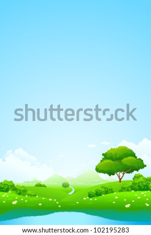Green landscape with lake trees mountains and flowers - stock vector