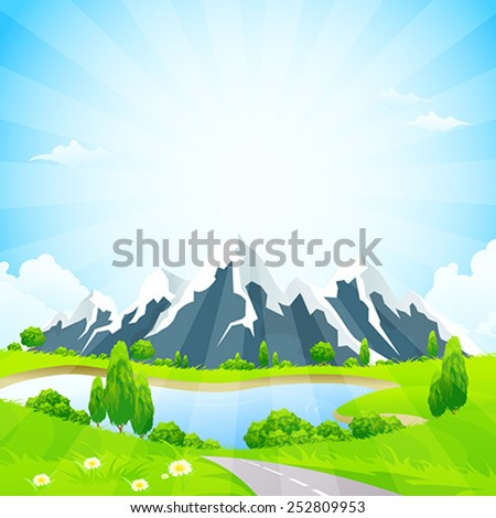 Green Landscape with Road Clouds Lake and Mountains - stock vector
