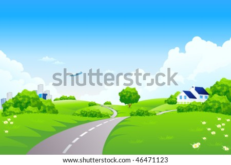 Green landscape with road trees city house and clouds - stock vector