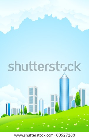 Green landscape with tree city and clouds - stock vector