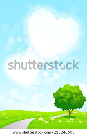 Green Landscape with  Tree, Grass, Road and Heart Shape Clouds - stock vector