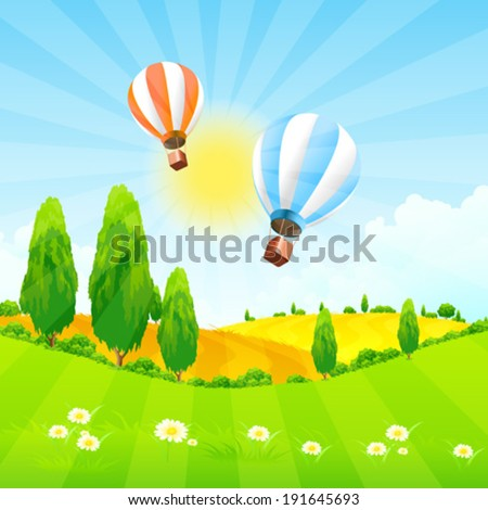 Green Landscape with Trees and  Hot Air Balloon in the Sky - stock vector