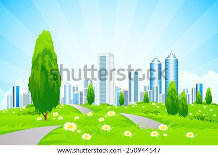 Green landscape with Trees, City, Roads and Clouds - stock vector
