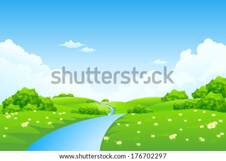 Green Landscape with Trees, Clouds, Flowers and River - stock vector