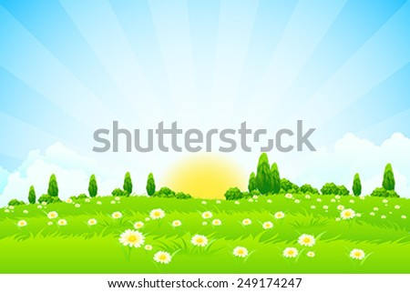Green Landscape with trees clouds flowers and Sun - stock vector