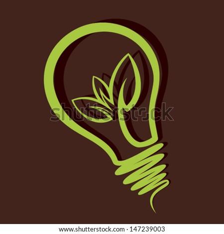 green leaf bulb icon stock vector - stock vector