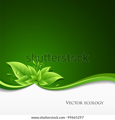Green leaf ecology concept background. vector illustration - stock vector